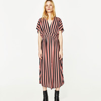 STRIPED MIDI DRESS DETAILS