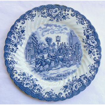 Blue and White Toile Transferware Plate Dogs Horse Horses Stagecoach Roses