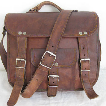 Indiana Jones Leather Bag Messenger School Cross Body Bag Travel Satchel Retro Style-11 to 18 inches