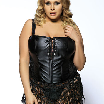A2227 Black lace plus size shapewear Corset + G string  fashion trendy faux leather corset dress high quality fitness corset