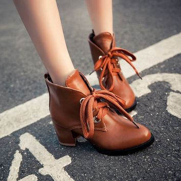 Lace Up Women Ankle Boots Chunky Heel 9273
