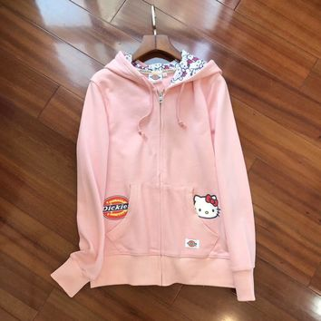 Dickies HelloKitty Women Fashion Hooded Cardigan Jacket Coat-2