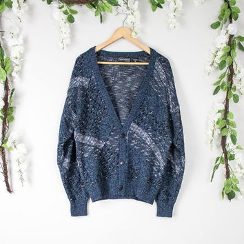 Vintage Marled Blue Cardigan Sweater