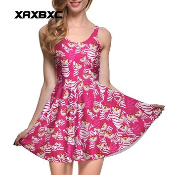 NEW 1048 Sexy Girl Women Summer Alice in Wonderland Cheshire cat 3D Prints Reversible Sleeveless Skater Pleated Dress Plus Size