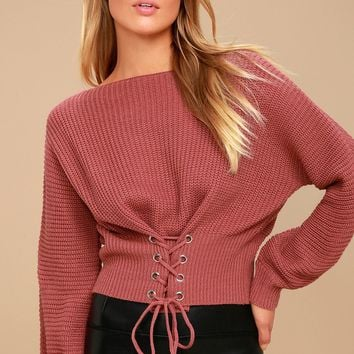 Wrapped in Romance Rusty Rose Cropped Lace-Up Sweater