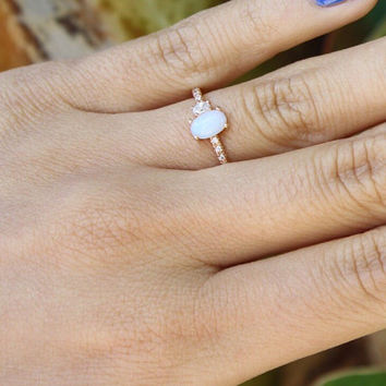 Opal Cabochon Ring - opal ring / oval ring / dainty ring / stacking band / stackable ring / bridal jewelry / bridesmaid gift / gifts for her