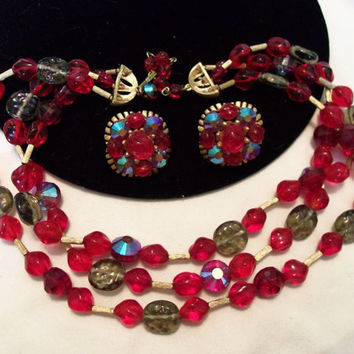 TRIFARI Jewelry Vintage Necklace Red Glass Gold Plate Bead Flower Earrings