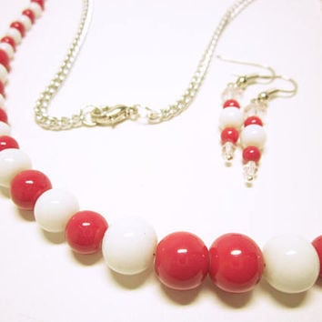 JEWELRY SET Red White Necklace Earrings Set Red White Beaded Necklace Earrings Red White Jewelry Set Gift Ideas For Her