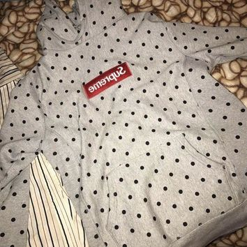 ONETOW Supreme Medium Grey Comme Des Garcons Polka Dot Box Logo Hoodie