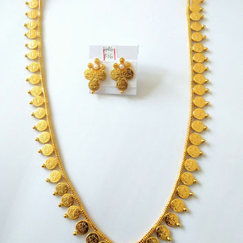 Long Traditional Coin Necklace with Stud earring