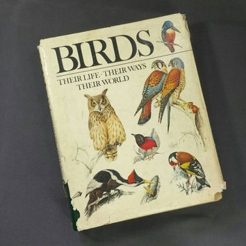 Vintage Book on Birds Their Life Their Ways Their World, Retro Color Illustrated Reference Books Birds Enthusiasts Lovers Gift Decor