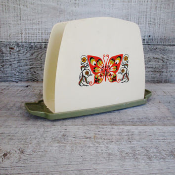 Napkin Holder Retro Butterfly Plastic Napkin Holder Acrylic Napkin Holder Vintage Mail Holder Retro Kitchen Decor Mid Century Office