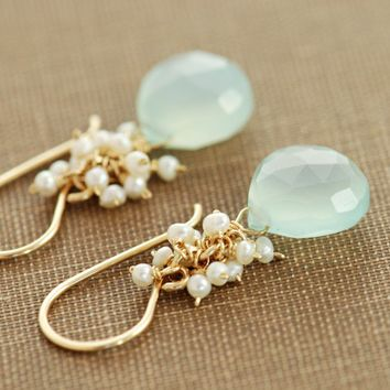 Seafoam Chalcedony and Seed Pearls Handmade Earrings by aubepine