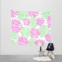 pink and green flowers Wall Tapestry by Sylvia Cook Photography