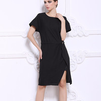 Belted Short Sleeve Midi Dress
