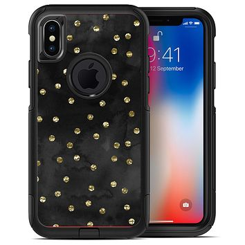 Black Watercolor and Gold Glimmer Polka Dots - iPhone X OtterBox Case & Skin Kits