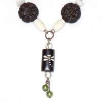 Long Bohemian Bead Necklace in Cocoa Brown, White and Lime Green with Dragonfly Pendant