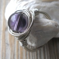 Silver Wire Amethyst Ring Size 6.5
