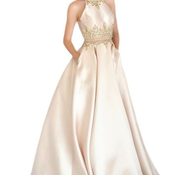 Miracle Agency Australian Designer Liquid Gold 5056 Halter Neck Ball Gown