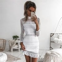Fashion Temperament Long Sleeve Hollow Lace Solid Color Turtleneck Mini Dress