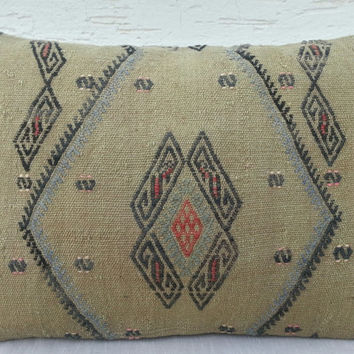 14x20 DECORATIVE Throw Pillows,Large Asian Kilim Cushion Cover, Turkish Kilim Pillow,Bolster Weave Cushions,Bohemian Kilim Lumbar Pillow.