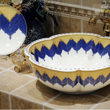 Free shipping bathroom Round sinks Ceramic counter top basins hand painting art vessel XRSJF1003