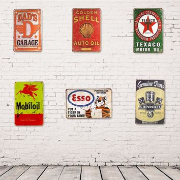Metal Tin signs ESSO TEXACO GULF Mobilgas Dad's Garage Hot Road,  Man Cave Home Decor Craft Wall Painting