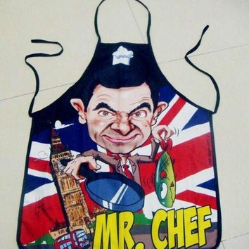 DCCKIX3 Hot Fashion New Mr Chef Print Kitchen Apron Funny Creative Cooking Aprons Gifts for Women Men (Size: One Size)