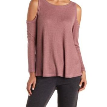 Dusty Rose Waffle Knit Cold Shoulder Top by Charlotte Russe