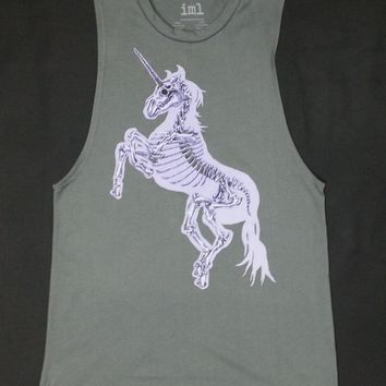 Glow In The Dark UNICORN SKELETON Ladies Muscle Tee-Tank Top T-Shirt NWT S-3XL