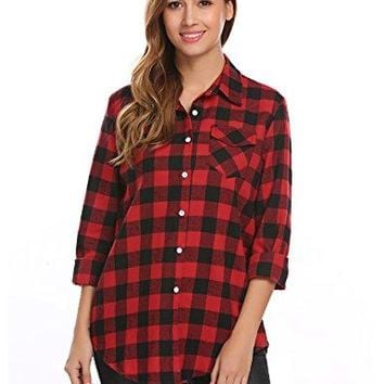Easther Womens Casual Loose Boyfriend Plaid Button Down Shirt Roll up Sleeve Shirt