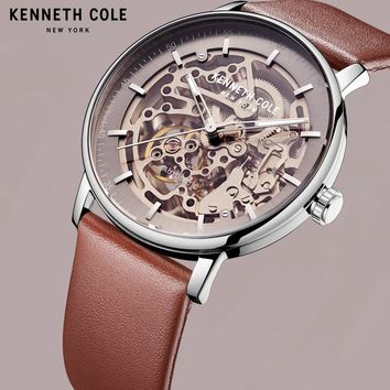Kenneth Cole Mechanical Mens Watches Brown Gold Automatic Wind Leather Buckle Waterproof Luxury Brand Male Watches KC15104001