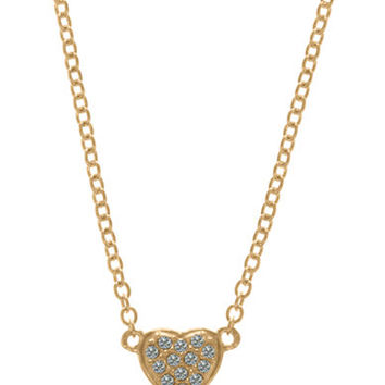 Judith Jack Gold Tone Sterling Silver and Crystal Heart Pendant Necklace