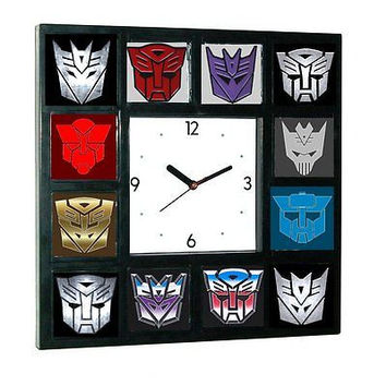 History of Transformers Decepticon and Autobot Clock with 12 pictures