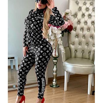 SUPREME LV Women Fashion Long Sleeve Top Pants Set Two-Piece