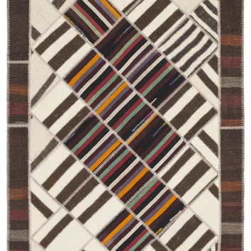 STRIPED OVER DYED KILIM PATCHWORK UNIQUE RUG 5'7'' X 7'10'' FT 170 X 240 CM