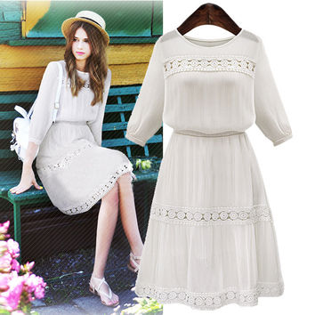 White Lace A-Line  Chiffon Dress