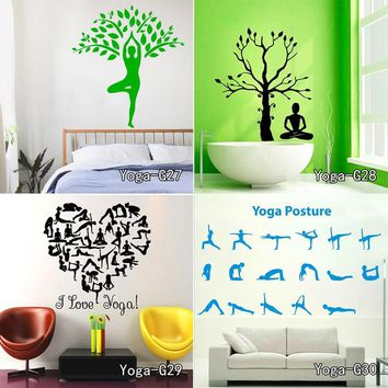 Yoga Meditation Zen Abstract Decor Living Room Vinyl Carving Wall Decal Sticker for Home Window Decoration Free shipping