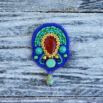 Bead Embroidered brooch Egyptian pin brooch Beadwork Agate brooch Blue Turquoise beadwork brooch OOAK Bead Embroidery Jewelry Gift for mom