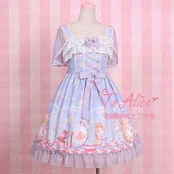 Super Cute To Alice Alice in Wonderland Fairytale JSK Lolita Dress Suspender Sleeveless Fancy Dolly Dress with Detachable Cape