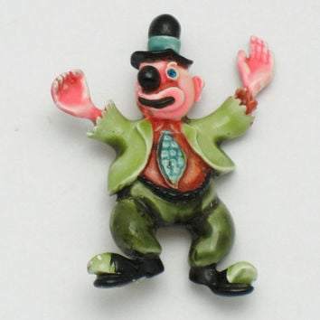 Adorable HAR Vintage 1950's Enamel Figural Hobo Clown Brooch Pin