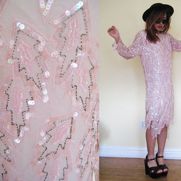 Vintage COLLECTIBLE beaded leaf light pink pastel flapper dress wedding party cocktail gown sequin