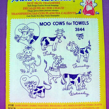 "Aunt Martha's ""Moo Cows for Towels"" Hot Iron Transfer Pattern 3844 for Embroidery, Fabric Painting, Needle Crafts"