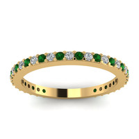 0.46 Diamond & Emerald Eternity Engagement Wedding Ring 18kt Yellow Gold Blueriver47 Etsy Fine Jewelry Birthday Anniversry Bridal Gift