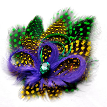 Mardi Gras Feather Fascinator Green and Gold by FeatherFunded