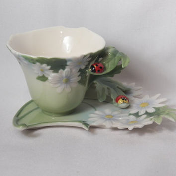 FRANZ Ladybug Collection Tea Cup and Saucer -Signed Hand Painted Porcelain China  Tableware - Art Nouveau Collectible