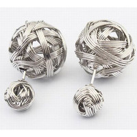 Woven Design Stud Earrings