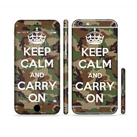 The Keep Calm & Carry On Camouflage Sectioned Skin Series for the Apple iPhone 6