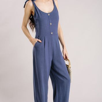 Hadley Navy Button Jumpsuit