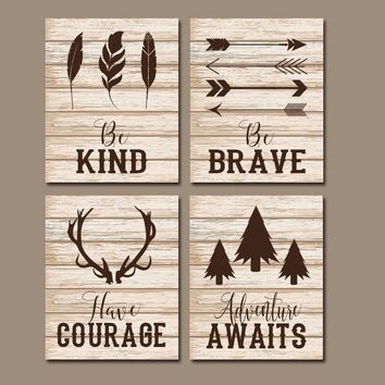 Woodland Quotes Wall Art, Woodland Nursery Decor, Rustic Nursery Signs, CANVAS or Prints, Woodland Signs, Be Brave Be kind Pictures Set of 4